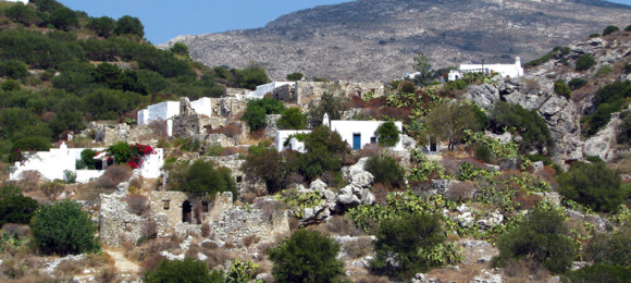 The mountainous villages of Tholaria, Lagada and Potamos
